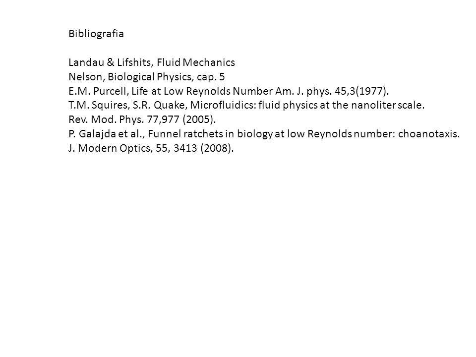Bibliografia Landau & Lifshits, Fluid Mechanics Nelson, Biological Physics, cap. 5 E.M. Purcell, Life at Low Reynolds Number Am. J. phys. 45,3(1977).