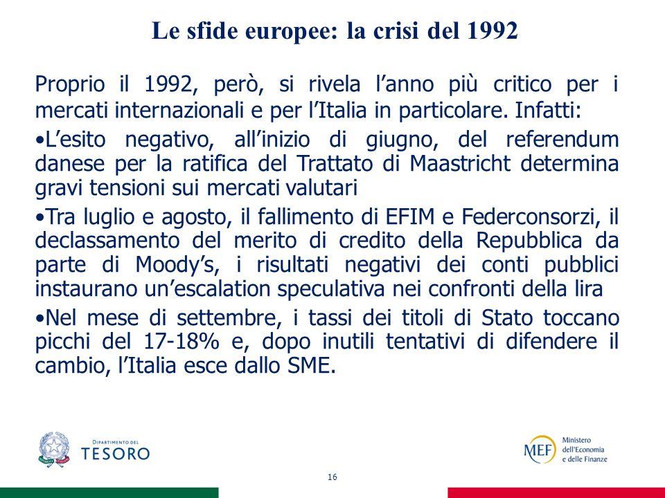 16 Le sfide europee: la crisi del 1992 Proprio il 1992, però, si rivela lanno più critico per i mercati internazionali e per lItalia in particolare. I