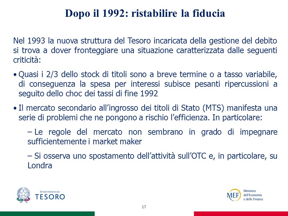 17 Dopo il 1992: ristabilire la fiducia Nel 1993 la nuova struttura del Tesoro incaricata della gestione del debito si trova a dover fronteggiare una