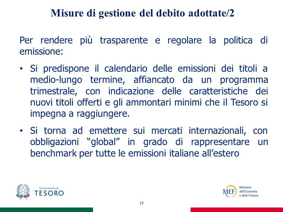 19 Misure di gestione del debito adottate/2 Per rendere più trasparente e regolare la politica di emissione: Si predispone il calendario delle emissio