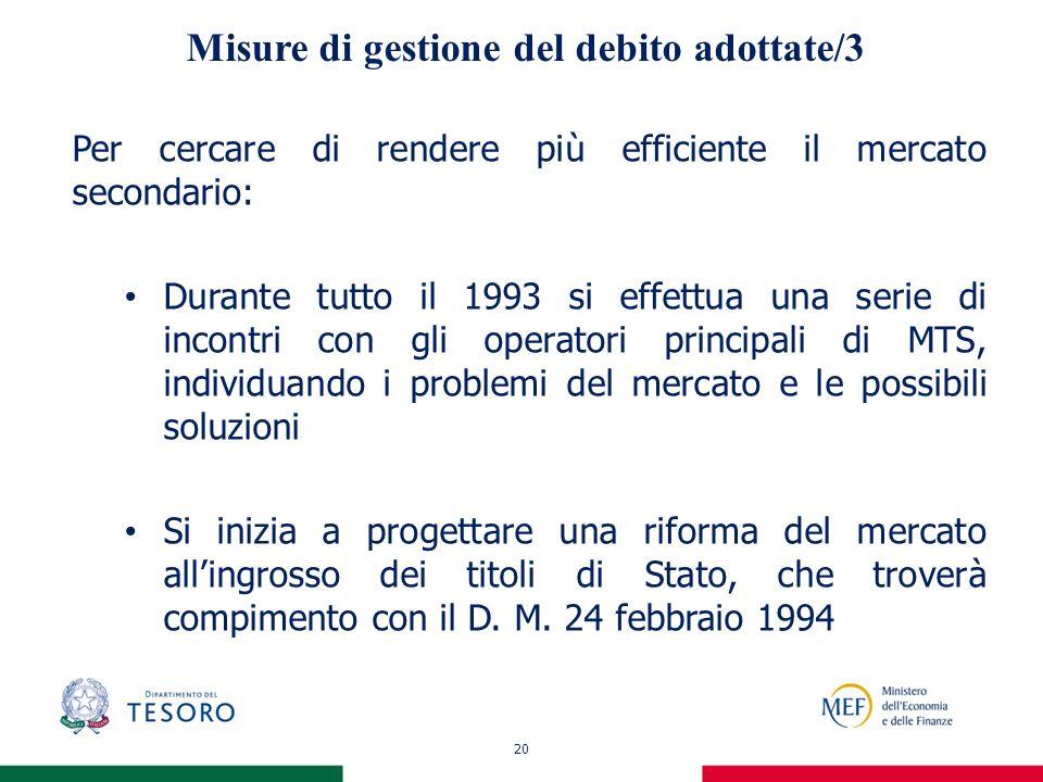 20 Misure di gestione del debito adottate/3 Per cercare di rendere più efficiente il mercato secondario: Durante tutto il 1993 si effettua una serie d