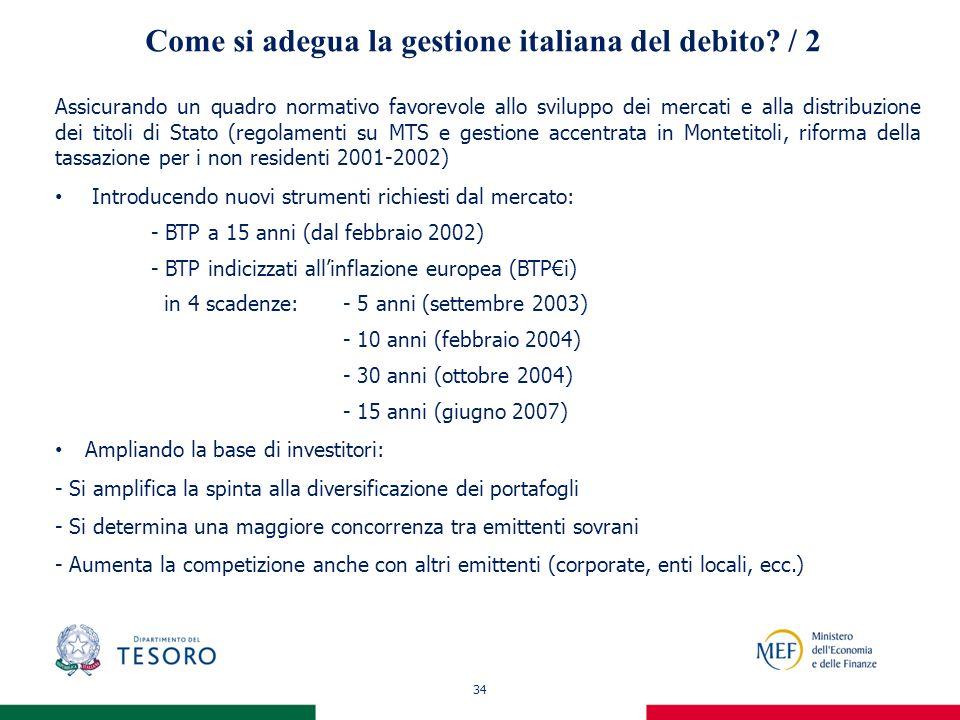 34 Come si adegua la gestione italiana del debito? / 2 Assicurando un quadro normativo favorevole allo sviluppo dei mercati e alla distribuzione dei t
