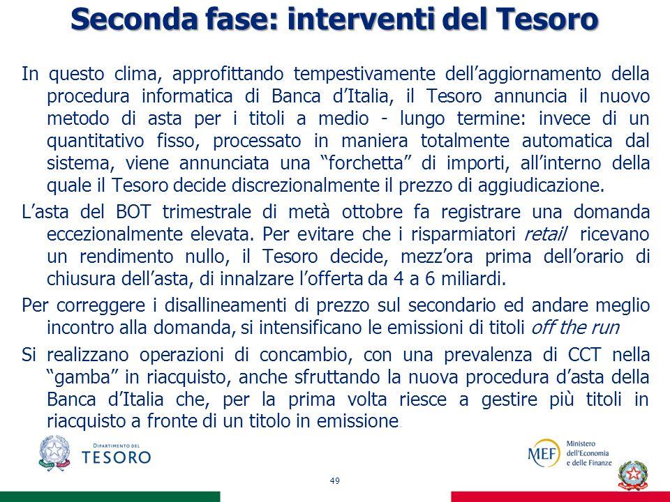 Seconda fase: interventi del Tesoro In questo clima, approfittando tempestivamente dellaggiornamento della procedura informatica di Banca dItalia, il