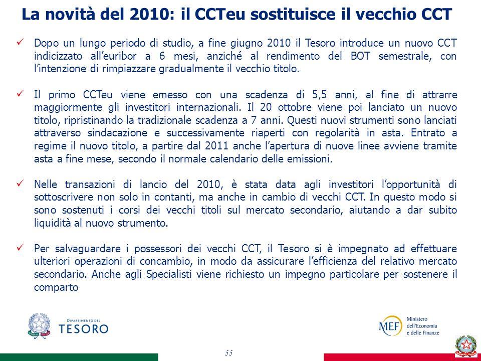 La novità del 2010: il CCTeu sostituisce il vecchio CCT 55 Dopo un lungo periodo di studio, a fine giugno 2010 il Tesoro introduce un nuovo CCT indicizzato alleuribor a 6 mesi, anziché al rendimento del BOT semestrale, con lintenzione di rimpiazzare gradualmente il vecchio titolo.
