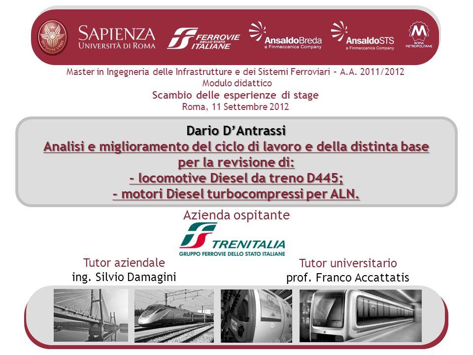 Master in Ingegneria delle Infrastrutture e dei Sistemi Ferroviari – A.A. 2011/2012 Modulo didattico Scambio delle esperienze di stage Roma, 11 Settem