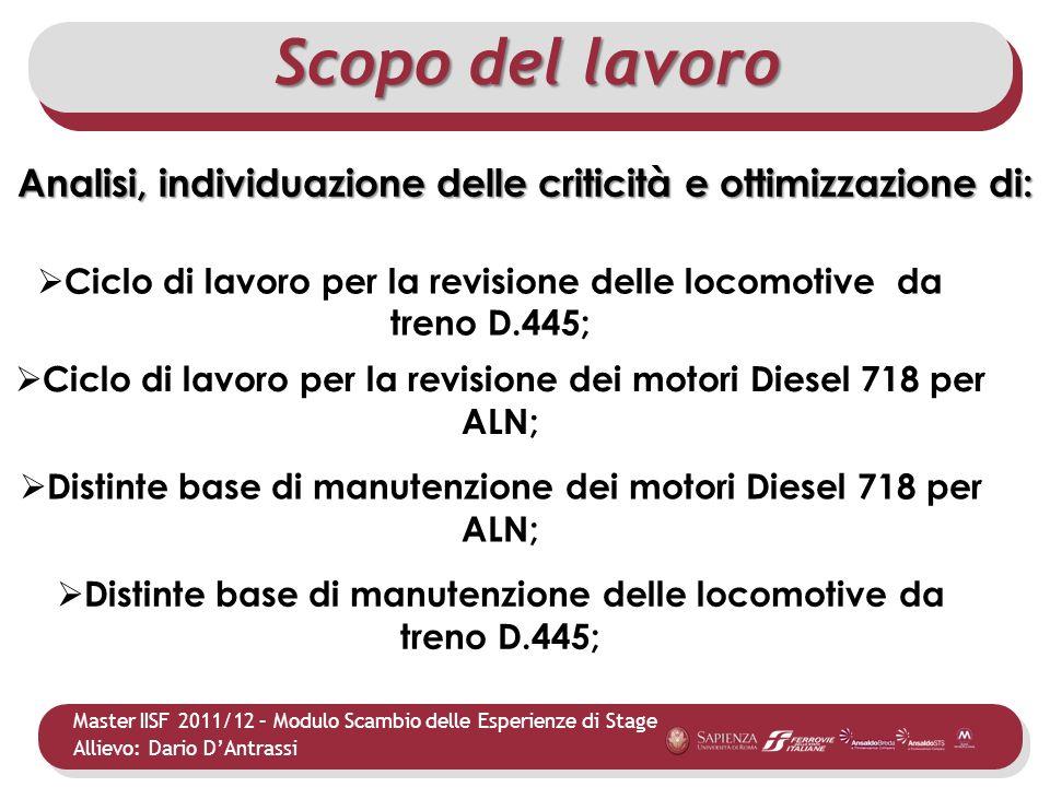 Master IISF 2011/12 – Modulo Scambio delle Esperienze di Stage Allievo: Dario DAntrassi Ciclo di lavoro per la revisione delle locomotive da treno D.4