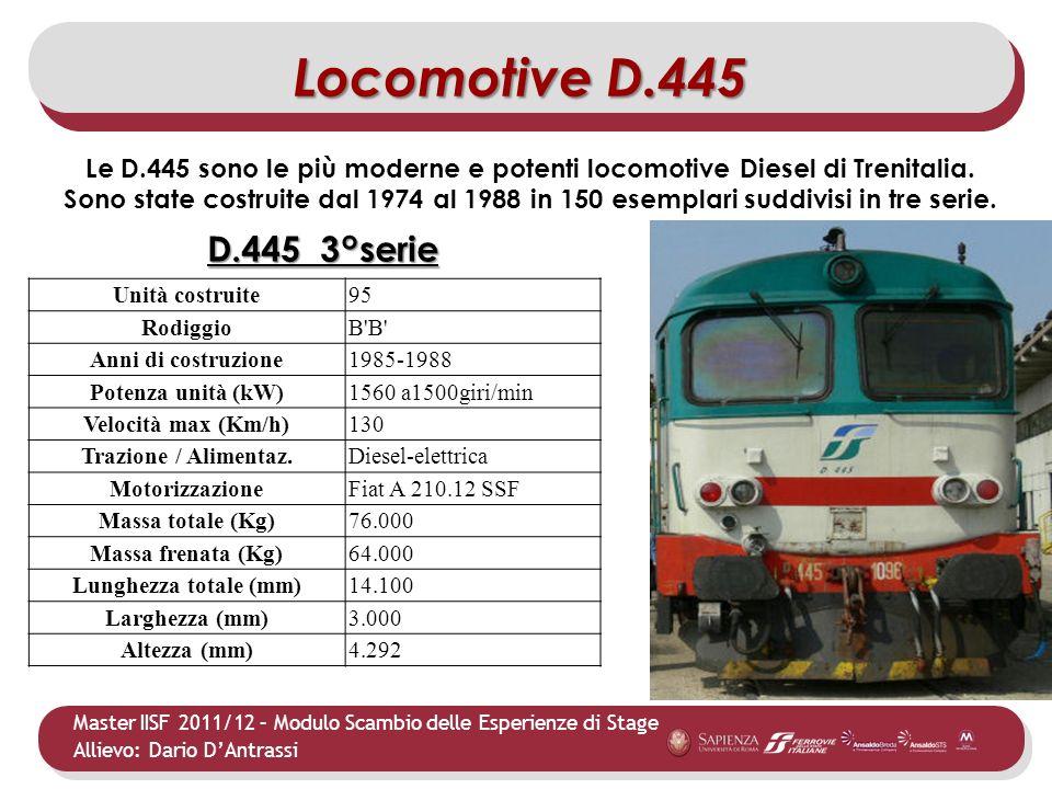 Master IISF 2011/12 – Modulo Scambio delle Esperienze di Stage Allievo: Dario DAntrassi Le D.445 sono le più moderne e potenti locomotive Diesel di Tr