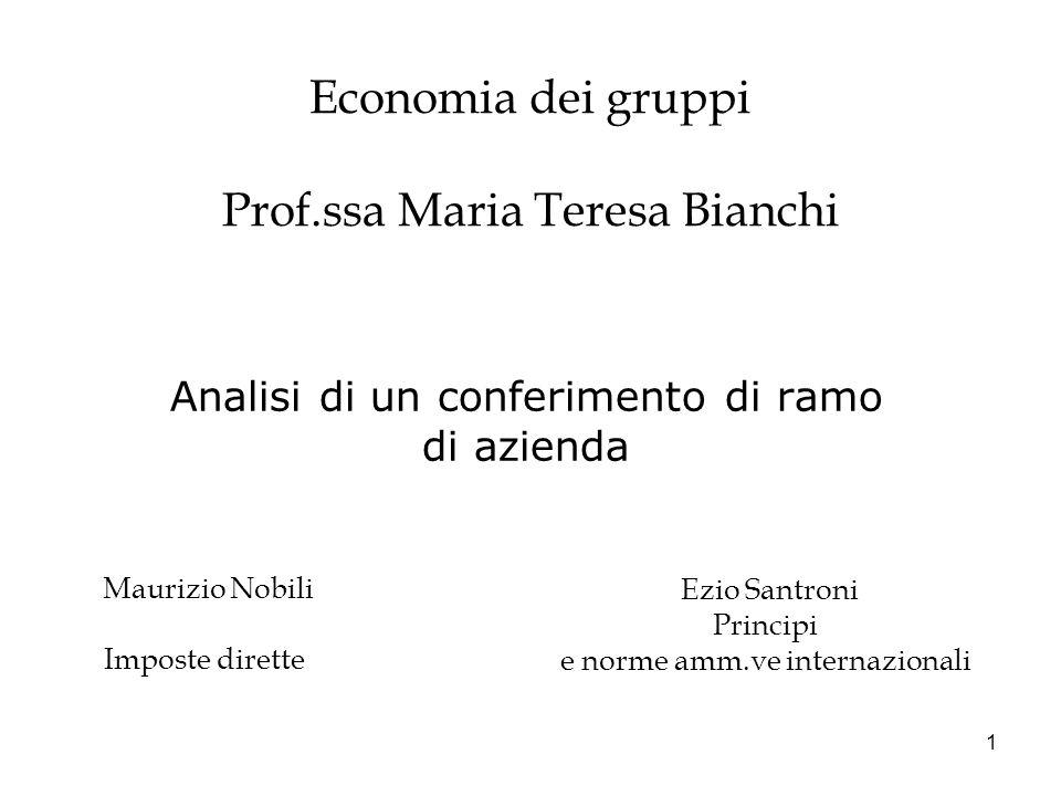1 Economia dei gruppi Prof.ssa Maria Teresa Bianchi Analisi di un conferimento di ramo di azienda Maurizio Nobili Imposte dirette Ezio Santroni Princi