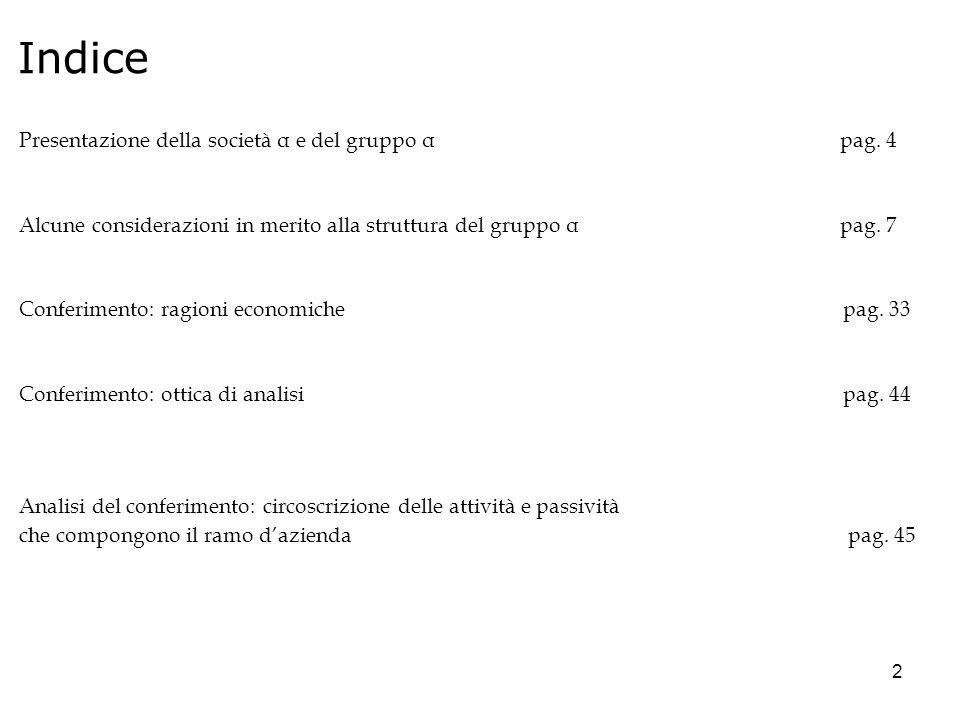 2 Indice Presentazione della società α e del gruppo α pag. 4 Alcune considerazioni in merito alla struttura del gruppo α pag. 7 Conferimento: ragioni
