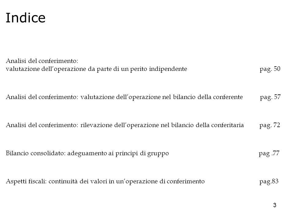 44 Analisi del conferimento: Aspetti contabili Bilancio della conferente: circoscrizione delle attività e passività che compongono il ramo dazienda; Valutazione del ramo da parte di un perito indipendente Rilevazione delloperazione nel bilancio della conferente Rilevazione delloperazione nel bilancio 2009 della conferitaria Bilancio consolidato: adeguamento ai principi di gruppo Aspetti fiscali Continuità dei valori in unoperazione di conferimento ___________________________________________ Conferimento: ottica di analisi