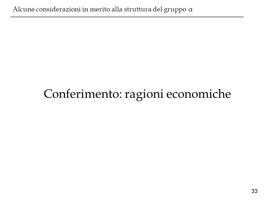 33 ___________________________________________ Conferimento: ragioni economiche Alcune considerazioni in merito alla struttura del gruppo α