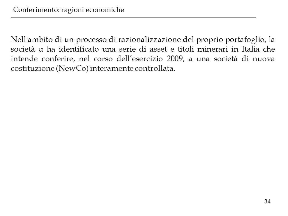 34 Nell'ambito di un processo di razionalizzazione del proprio portafoglio, la società α ha identificato una serie di asset e titoli minerari in Itali