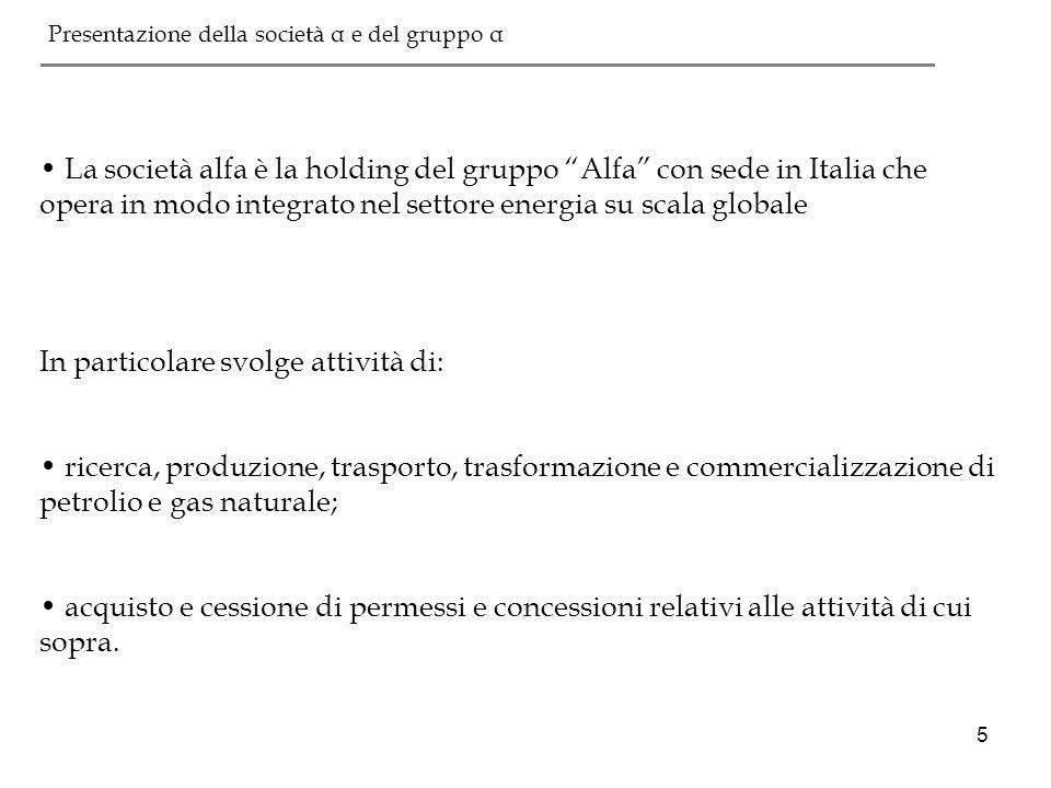 5 La società alfa è la holding del gruppo Alfa con sede in Italia che opera in modo integrato nel settore energia su scala globale In particolare svol