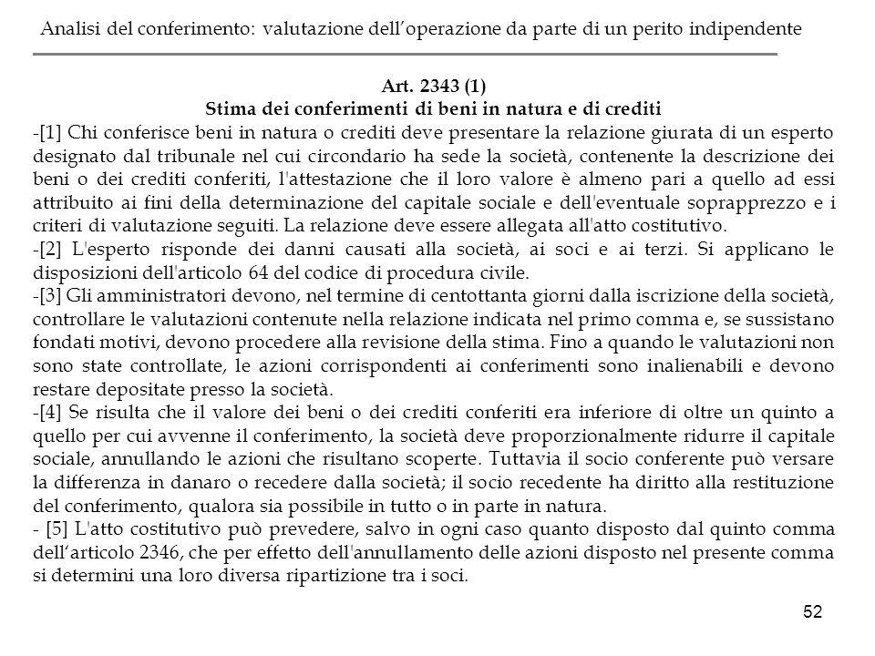 52 Art. 2343 (1) Stima dei conferimenti di beni in natura e di crediti -[1] Chi conferisce beni in natura o crediti deve presentare la relazione giura