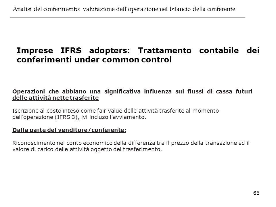 65 Operazioni che abbiano una significativa influenza sui flussi di cassa futuri delle attività nette trasferite Iscrizione al costo inteso come fair