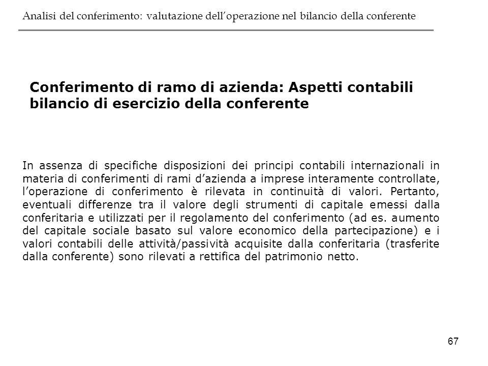 67 Conferimento di ramo di azienda: Aspetti contabili bilancio di esercizio della conferente In assenza di specifiche disposizioni dei principi contab