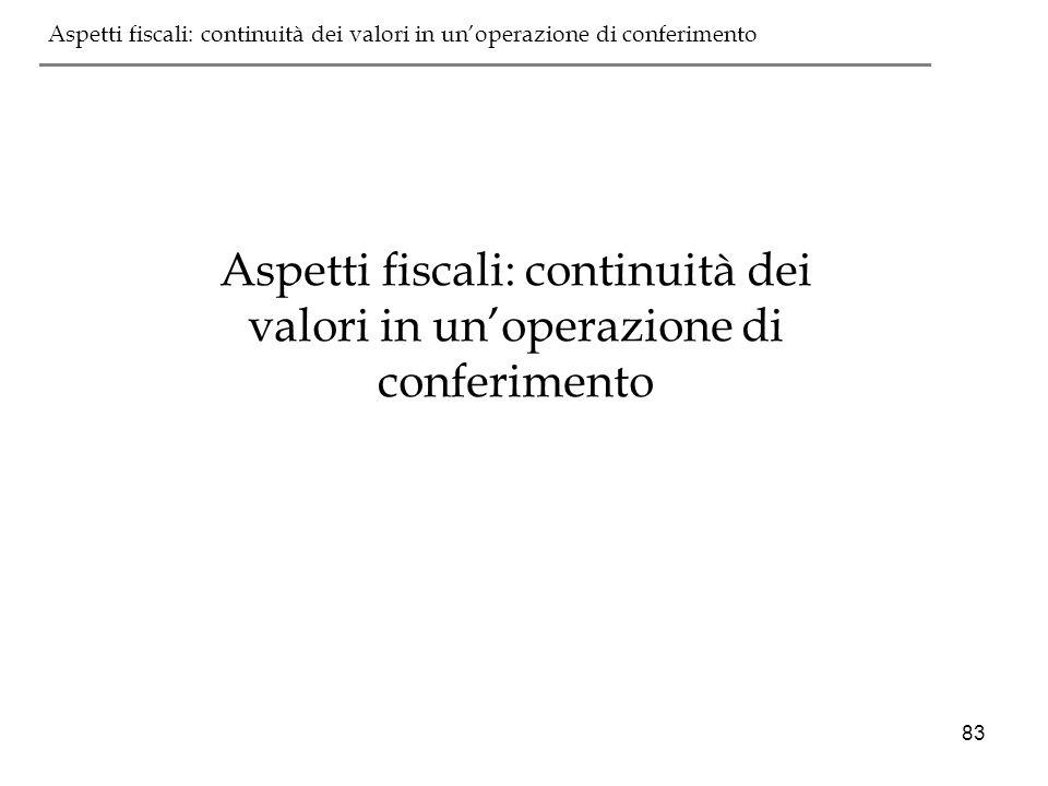 83 Aspetti fiscali: continuità dei valori in unoperazione di conferimento ___________________________________________ Aspetti fiscali: continuità dei