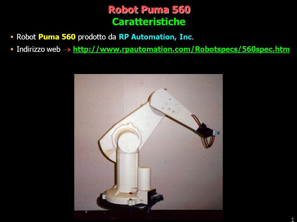 1 Robot Puma 560 Robot Puma 560 prodotto da RP Automation, Inc. Indirizzo web http://www.rpautomation.com/Robotspecs/560spec.htm Caratteristiche