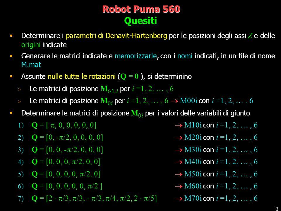 4 Robot Puma 560 Verificare con il programma MuoviPuma560.p i risultati ottenuti Assumendo la configurazione Q = 0 come postura iniziale per le 7 posizioni precedenti, generare le matrici così come sono richieste dal programma stesso verificare che il movimento prodotto sia quello atteso Quesiti 2 Ritorno