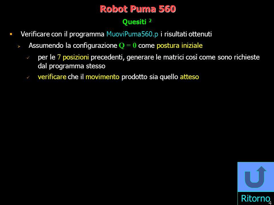 5 Robot Puma 560 Parametri di Denavit-Hartenberg: soluzione 0.67 Z1Z1 X1X1 Y1Y1 Z2Z2 X2X2 Y2Y2 0.4318 0.0203 0.1254 X0X0 Z0Z0 Y0Y0 Z3Z3 X3X3 Y3Y3 0.4318 Y4Y4 X 4 X 5 X 6 Z 4 Y 5 Y 6 Z 5 Z 6 n d a 1 0.6700q 1 =0 0.0 -1.5708 2 0.0q 2 =0 0.4318 0.0 3 0.1254q 3 =0 0.0203 -1.5708 4 0.4318q 4 =0 0.0 -1.5708 5 0.0 q 5 =0 0.0 1.5708 6 0.0 q 6 =0 0.0 0.0 Y0Y0 Z0Z0 X0X0
