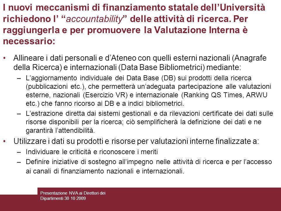 I nuovi meccanismi di finanziamento statale dellUniversità richiedono l accountability delle attività di ricerca.