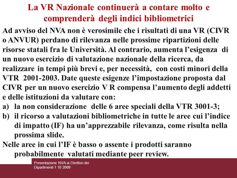 Ad avviso del NVA non è verosimile che i risultati di una VR (CIVR o ANVUR) perdano di rilevanza nelle prossime ripartizioni delle risorse statali fra le Università.