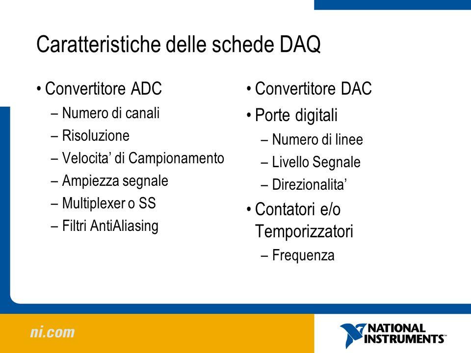 Caratteristiche delle schede DAQ Convertitore ADC –Numero di canali –Risoluzione –Velocita di Campionamento –Ampiezza segnale –Multiplexer o SS –Filtr