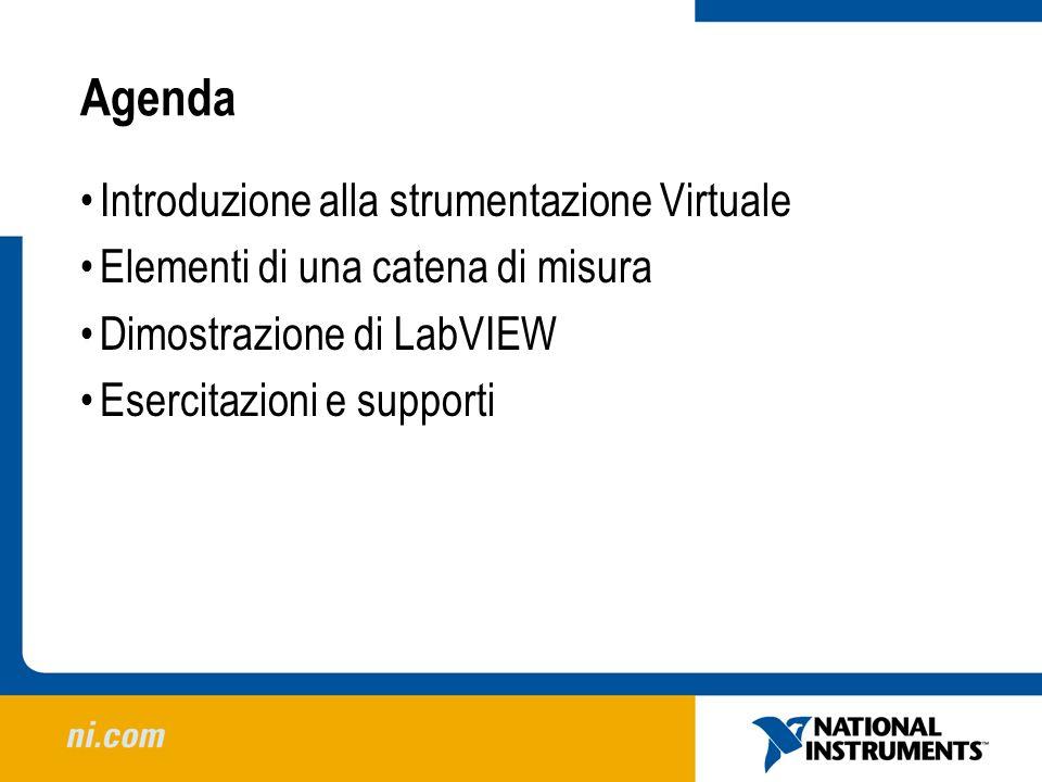 Agenda Introduzione alla strumentazione Virtuale Elementi di una catena di misura Dimostrazione di LabVIEW Esercitazioni e supporti