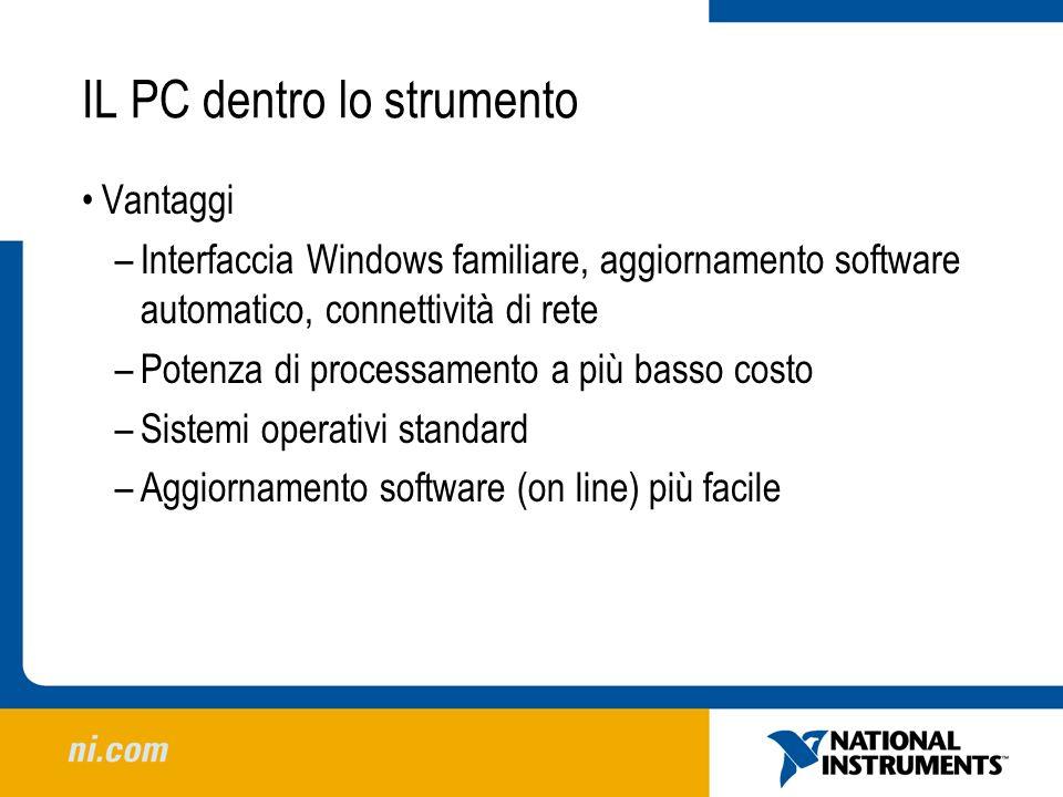 IL PC dentro lo strumento Vantaggi –Interfaccia Windows familiare, aggiornamento software automatico, connettività di rete –Potenza di processamento a