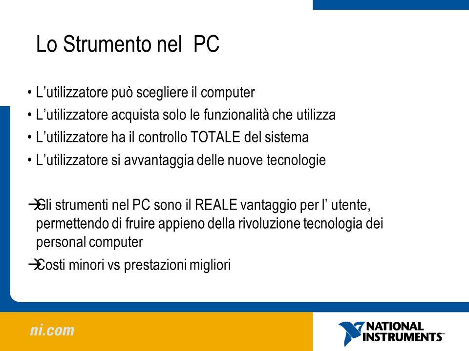 Lo Strumento nel PC Lutilizzatore può scegliere il computer Lutilizzatore acquista solo le funzionalità che utilizza Lutilizzatore ha il controllo TOT