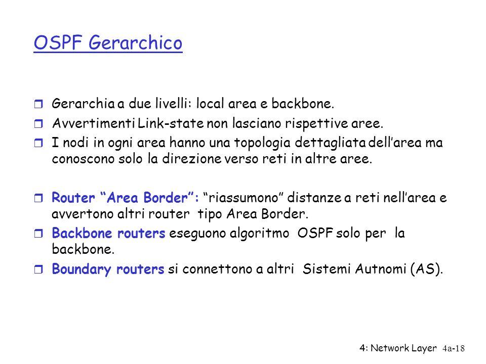 4: Network Layer4a-18 OSPF Gerarchico r Gerarchia a due livelli: local area e backbone. r Avvertimenti Link-state non lasciano rispettive aree. r I no