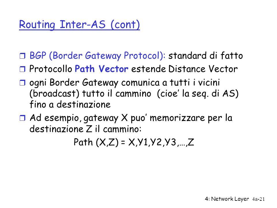 4: Network Layer4a-21 Routing Inter-AS (cont) r BGP (Border Gateway Protocol): standard di fatto r Protocollo Path Vector estende Distance Vector r og