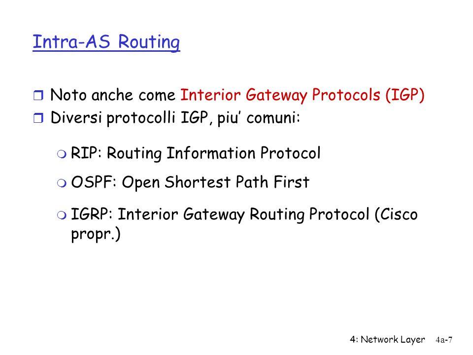 4: Network Layer4a-7 Intra-AS Routing r Noto anche come Interior Gateway Protocols (IGP) r Diversi protocolli IGP, piu comuni: m RIP: Routing Informat