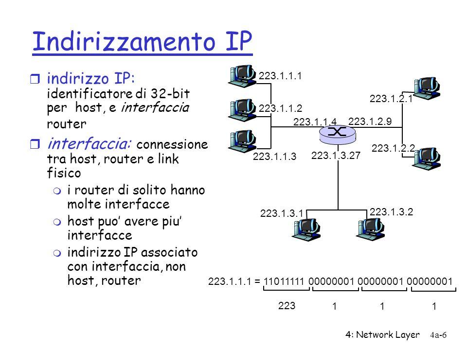 4: Network Layer4a-6 Indirizzamento IP r indirizzo IP: identificatore di 32-bit per host, e interfaccia router r interfaccia: connessione tra host, ro