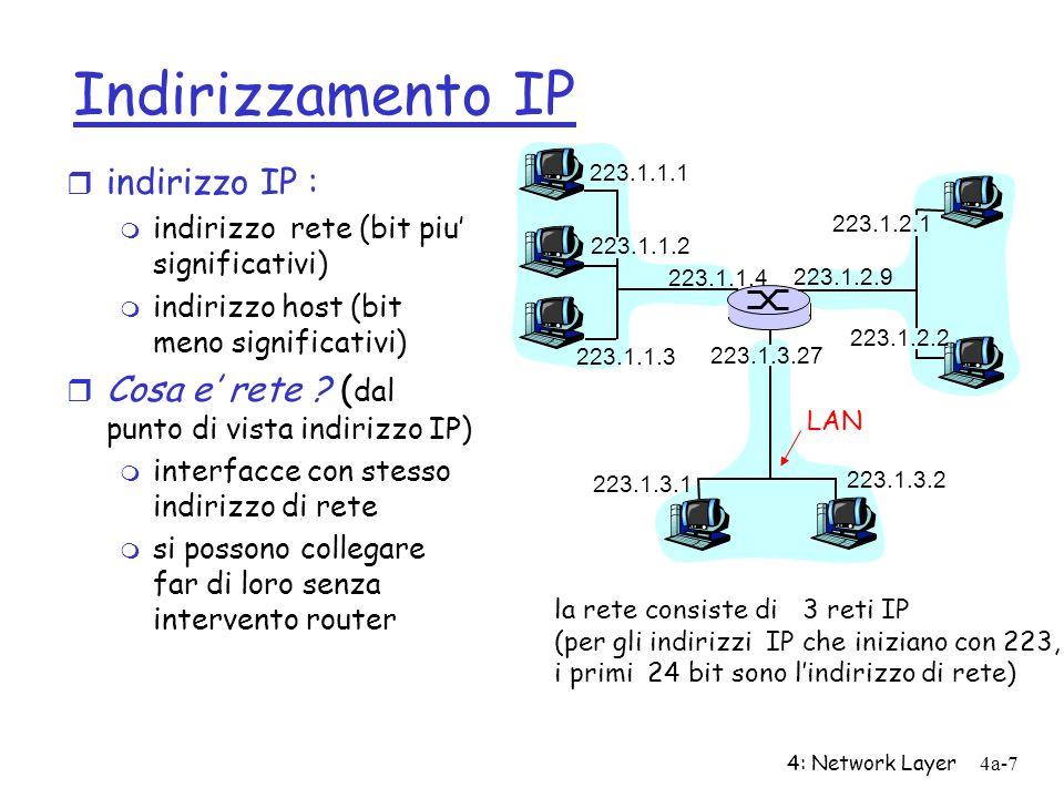 4: Network Layer4a-7 Indirizzamento IP r indirizzo IP : m indirizzo rete (bit piu significativi) m indirizzo host (bit meno significativi) r Cosa e re
