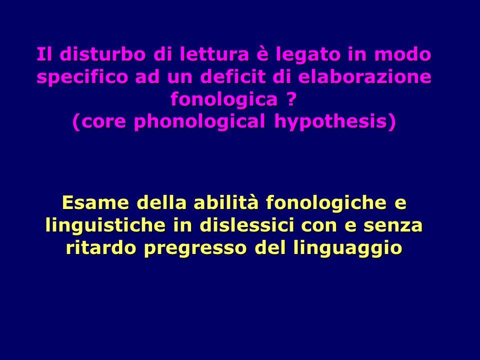 Il disturbo di lettura è legato in modo specifico ad un deficit di elaborazione fonologica .
