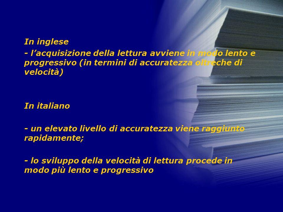 In inglese - lacquisizione della lettura avviene in modo lento e progressivo (in termini di accuratezza oltreche di velocità) In italiano - un elevato livello di accuratezza viene raggiunto rapidamente; - lo sviluppo della velocità di lettura procede in modo più lento e progressivo