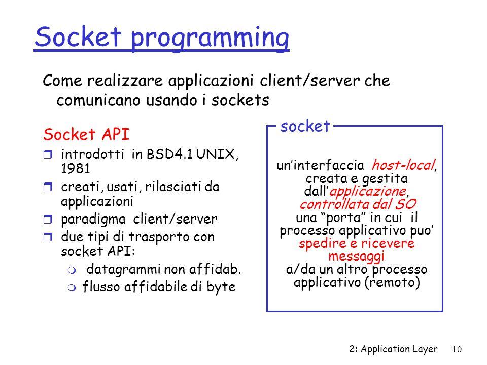 2: Application Layer10 Socket programming Socket API r introdotti in BSD4.1 UNIX, 1981 r creati, usati, rilasciati da applicazioni r paradigma client/server r due tipi di trasporto con socket API: m datagrammi non affidab.