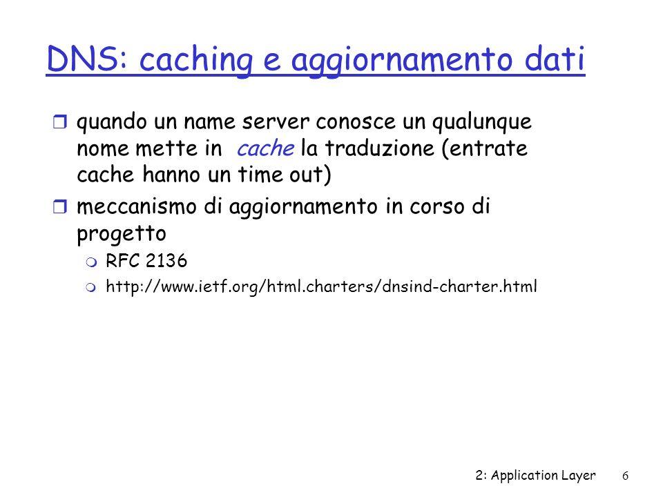 2: Application Layer6 DNS: caching e aggiornamento dati r quando un name server conosce un qualunque nome mette in cache la traduzione (entrate cache hanno un time out) r meccanismo di aggiornamento in corso di progetto m RFC 2136 m http://www.ietf.org/html.charters/dnsind-charter.html