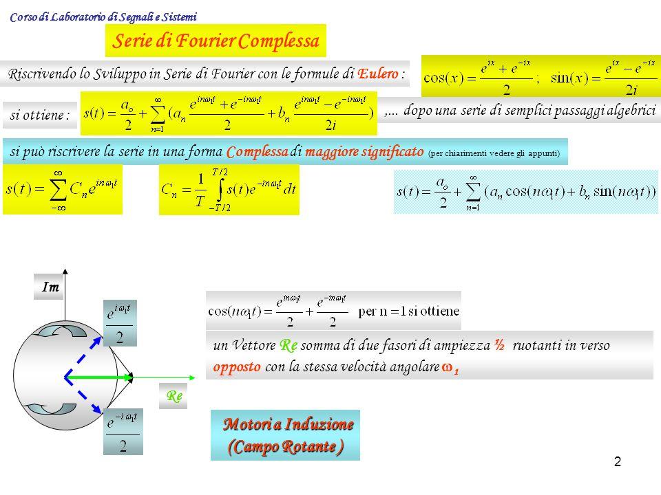 13 Corso di Laboratorio di Segnali e Sistemi Dipendenza dello spettro da un fattore di scala temporale Supponiamo che il segnale s(t) sia soggetto ad una trasformazione della scala dei tempi ( compressione o espansione ) ossia t kt con k ε R Se k > 1 si ha compressione e se 0 < k < 1 si ha dilatazione Allora se t kt segue che s(t) s(kt) e il suo spettro Ponendo: x = kt ; dx = k dt, si ha: cioè lo spettro di un segnale, ad esempio, compresso (k > 1) che mantiene la stessa forma, distribuisce le stesse componenti spettrali su un intervallo più esteso di frequenze con una ampiezza minore ( S/k) Compressione k > 1 Dilatazione k < 1 Stringendo temporalmente, si allarga lo Spettro Le Ampiezze dello Spettro, sono Minori Allargando temporalmente, si restringe lo Spettro Le Ampiezze dello Spettro, sono Maggiori