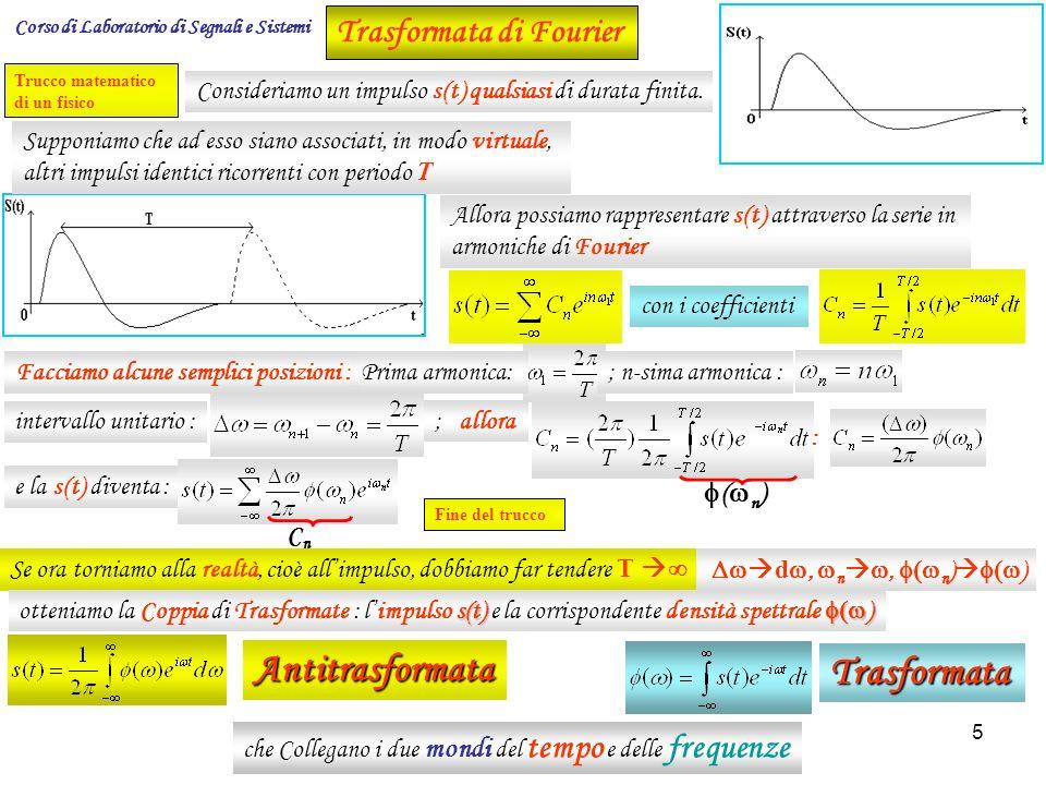 6 La trasformata e l antitrasformata ci permettono di trasformare delle funzioni e/o segnali dal dominio delle frequenze [ ] a quello del tempo [t] e viceversa.