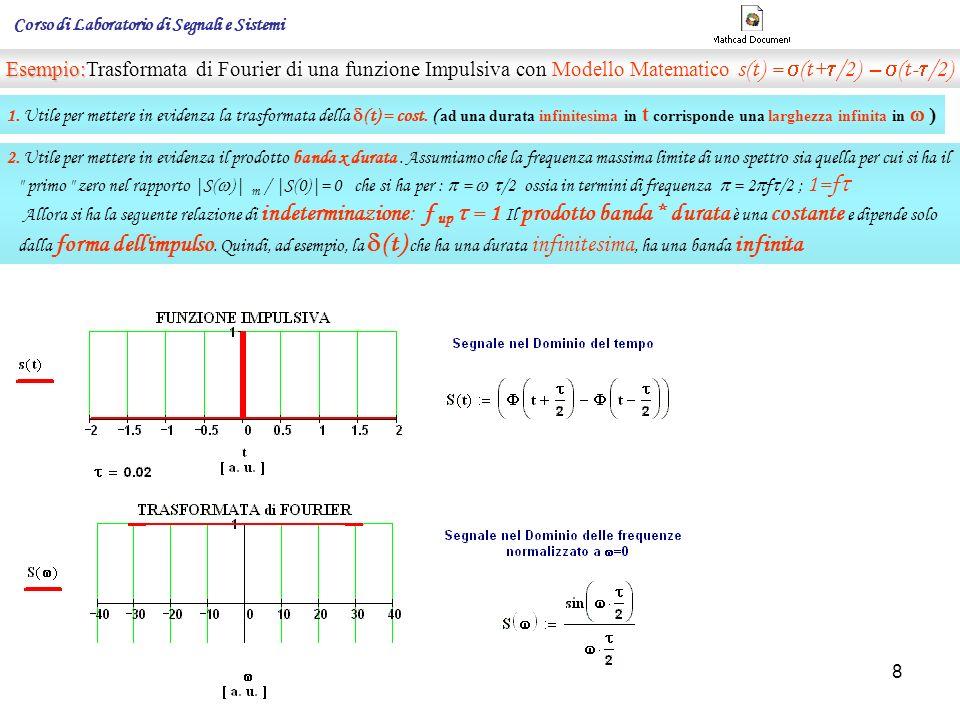 9 Proprietà della parte reale e della parte immaginaria dello spettro Poiché la funzione del tempo t la sua Trasformata : gode della proprietà che la sua parte è una funzione pari è una funzione dispari e quella In generale il suo spettro sarà rappresentato da una funzione complessa: Facciamo ora l anti - trasformata cioè ricaviamo la s(t) : affinché Queste condizioni sono verificate se: A( ) è pari (infatti il seno è una funzione dispari) B( ) è dispari (infatti il coseno è una funzione pari) 1.La parte reale A( ) dello spettro è una funzione pari della frequenza.