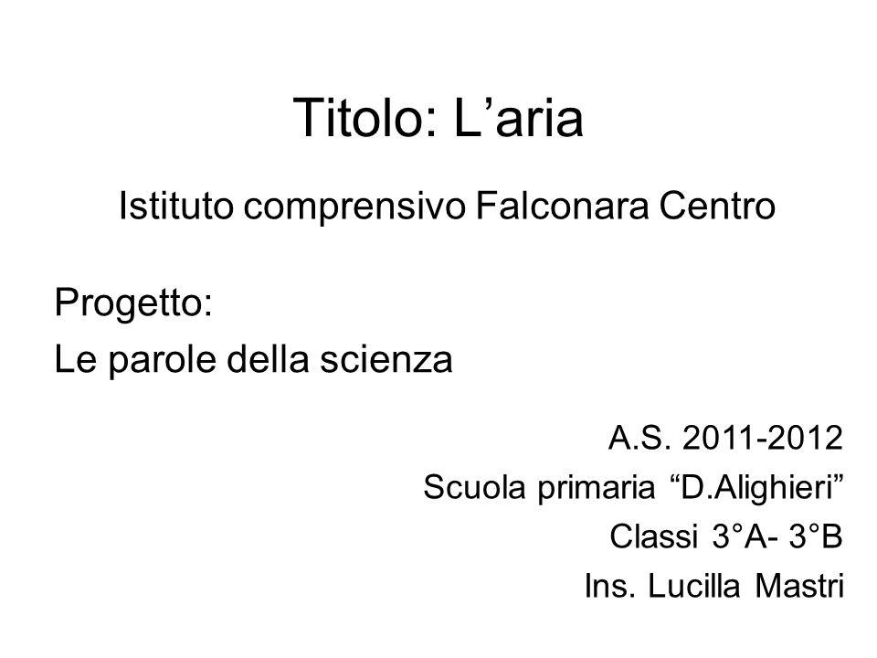 Titolo: Laria Istituto comprensivo Falconara Centro Progetto: Le parole della scienza A.S. 2011-2012 Scuola primaria D.Alighieri Classi 3°A- 3°B Ins.