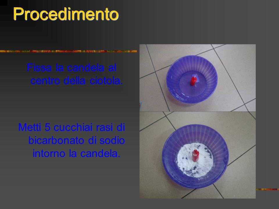Procedimento Fissa la candela al centro della ciotola. Metti 5 cucchiai rasi di bicarbonato di sodio intorno la candela.