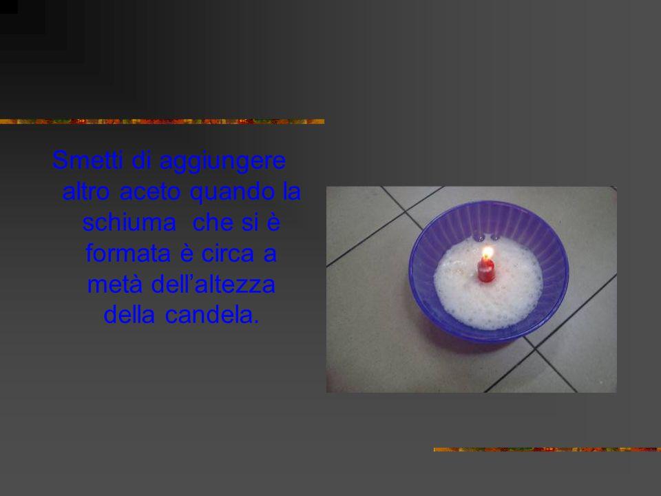 Smetti di aggiungere altro aceto quando la schiuma che si è formata è circa a metà dellaltezza della candela.