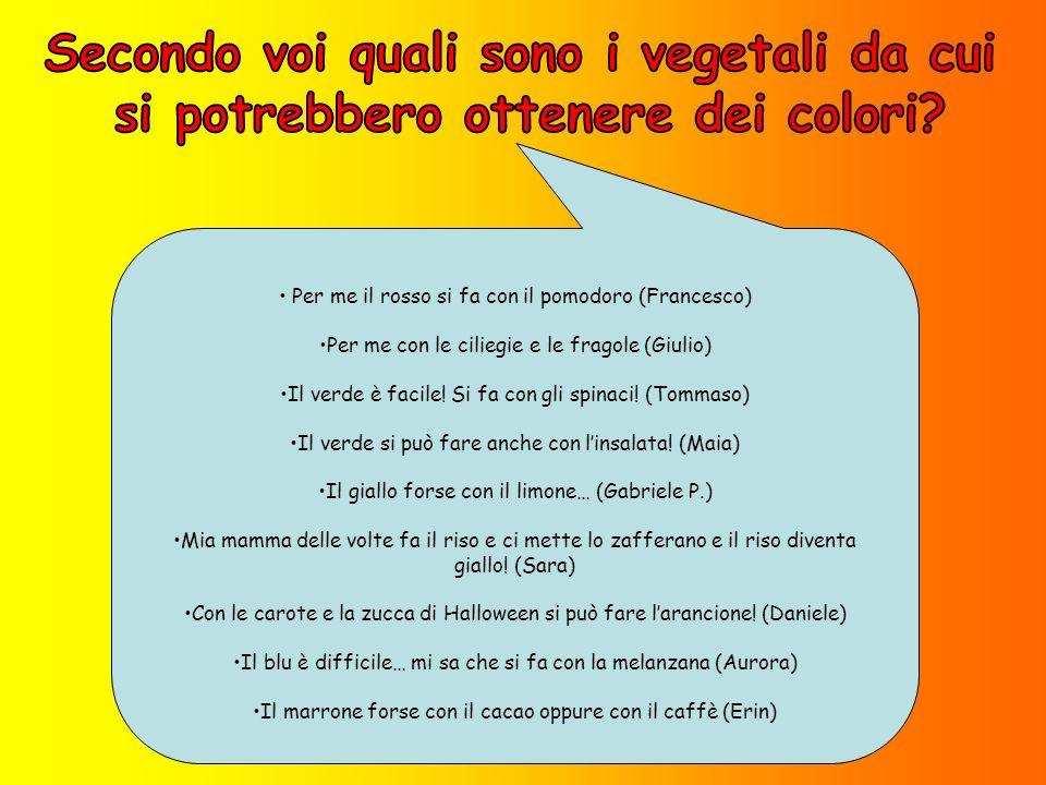 Per me il rosso si fa con il pomodoro (Francesco) Per me con le ciliegie e le fragole (Giulio) Il verde è facile.
