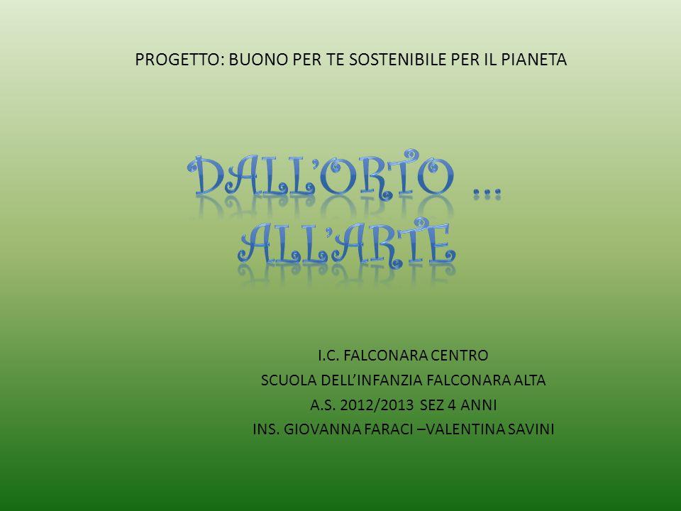 I.C. FALCONARA CENTRO SCUOLA DELLINFANZIA FALCONARA ALTA A.S. 2012/2013 SEZ 4 ANNI INS. GIOVANNA FARACI –VALENTINA SAVINI PROGETTO: BUONO PER TE SOSTE