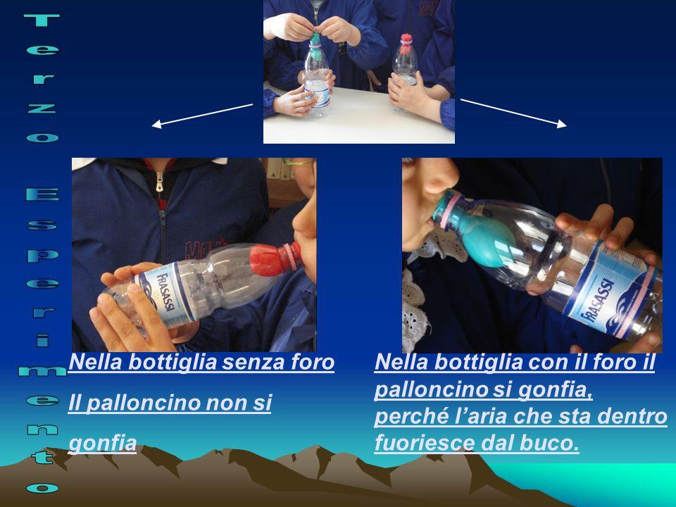Nella bottiglia con il foro il palloncino si gonfia, perché laria che sta dentro fuoriesce dal buco. Nella bottiglia senza foro Il palloncino non si g