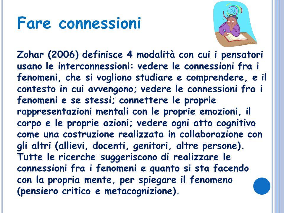 Zohar (2006) definisce 4 modalità con cui i pensatori usano le interconnessioni: vedere le connessioni fra i fenomeni, che si vogliono studiare e comp