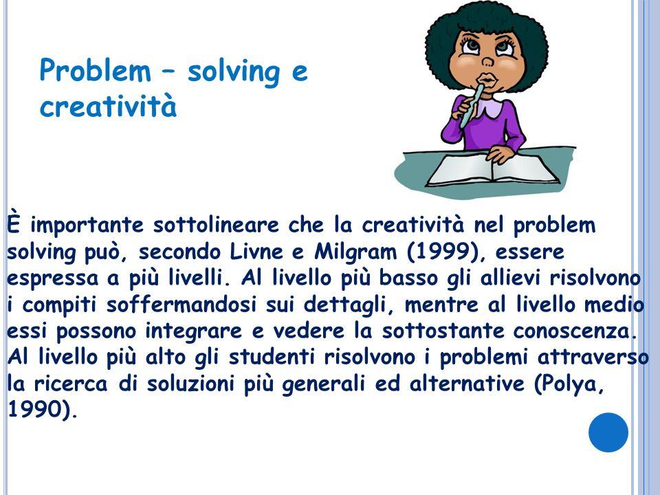 È importante sottolineare che la creatività nel problem solving può, secondo Livne e Milgram (1999), essere espressa a più livelli. Al livello più bas